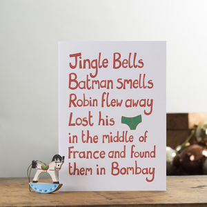 Pack Of Six Funny Christmas Cards