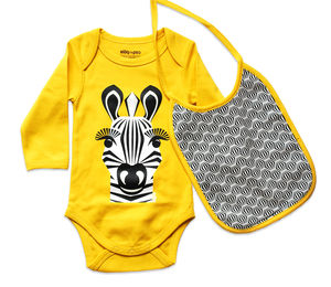 Body Suit And Bib Zebra - babygrows