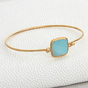 Gold And Aqua Chalcedonay Opening Bangle - bracelets & bangles