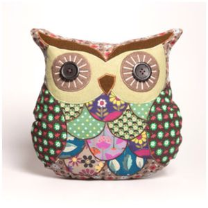 Patchwork Vintage Style Owl Cushion