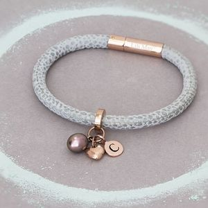 Amata Leather Personalised Charm Bracelet