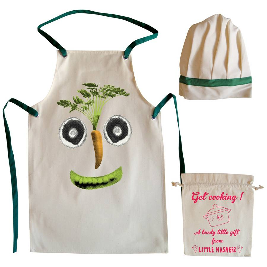 veg face child 39 s apron and chef hat set by little mashers. Black Bedroom Furniture Sets. Home Design Ideas