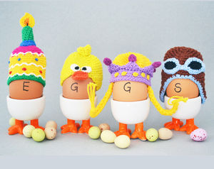 Hand Crocheted Egg Cosy - egg cups & cosies