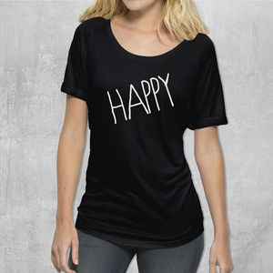'Happy' Womans Cotton T Shirt - start the day with a smile