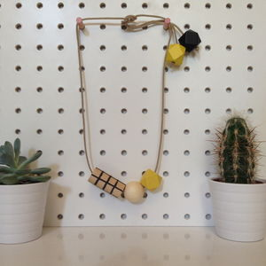 Grid Necklace In Yellow And Black - necklaces & pendants