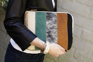 Cortes Natural Striped Hide Clutch - clutch bags