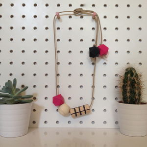Grid Necklace In Pink And Black - necklaces & pendants