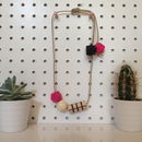 Grid Necklace In Pink And Black
