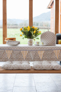 Garden Ochre Grey Table Cloth