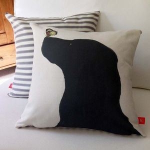 Black Labrador Feature Cushion - cushions