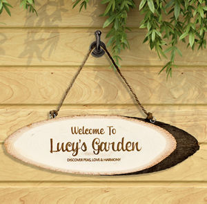 Personalised 'Garden' Wooden Sign - art & decorations