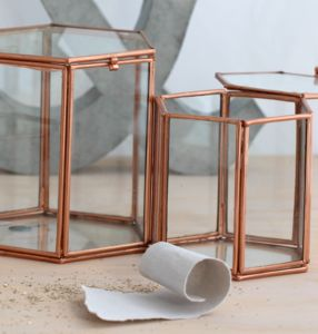 Medium Copper And Glass Geometric Box - kitchen accessories