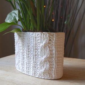 Cable Knit Effect China Planter - pots & planters