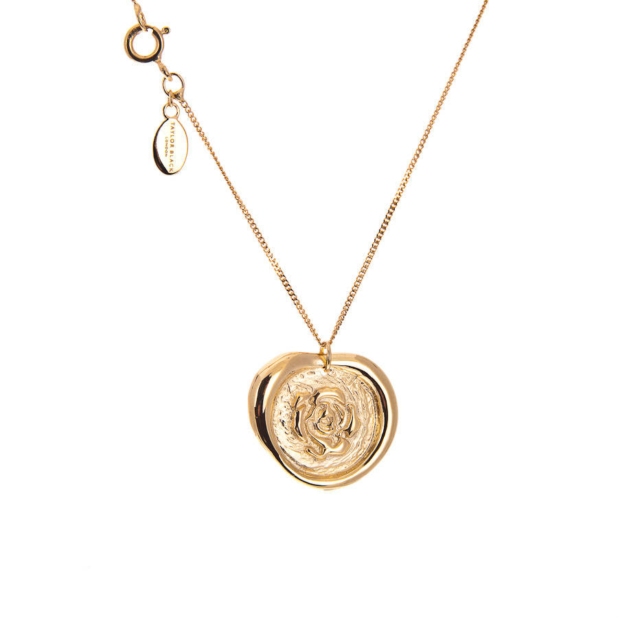 Gold rose wax seal stamp necklace by taylor black gold rose wax seal stamp necklace mozeypictures Images