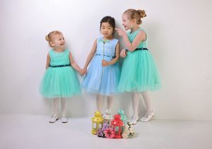 Girls Tuelle Dress With Crystal Belt - occasion wear
