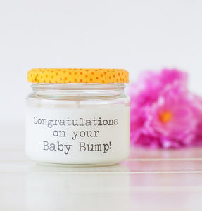 'Congratulations on your baby bump' Baby Shower Candle