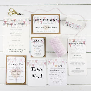 Pastel Bunting Wedding Stationery Sample Pack - wedding stationery