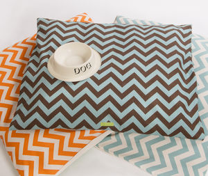 Chevron Print Cushion Dog Bed