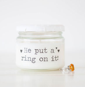 'He put a ring on it' Engagement Candle