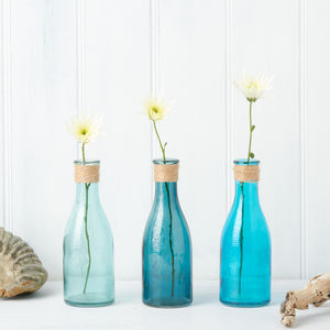 Nautical Blue Glass Bottles