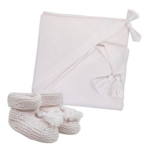 Classic Newborn Blanket And Bootie Gift Pink And Blue