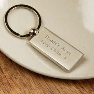 Personalised Rectangular Key Ring - gifts for fathers