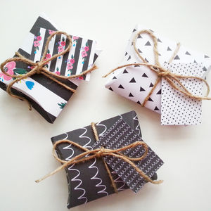 Set Of Six Diy Monochrome Diy Pillow Gift Boxes - wrapping