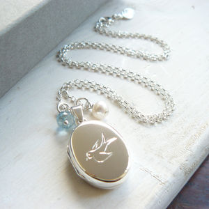 Silver Bluebird Locket With Birthstone Necklace - lockets