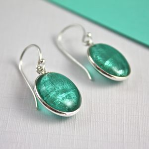 Murano Glass and Silver Oval Earrings - gifts for grandparents