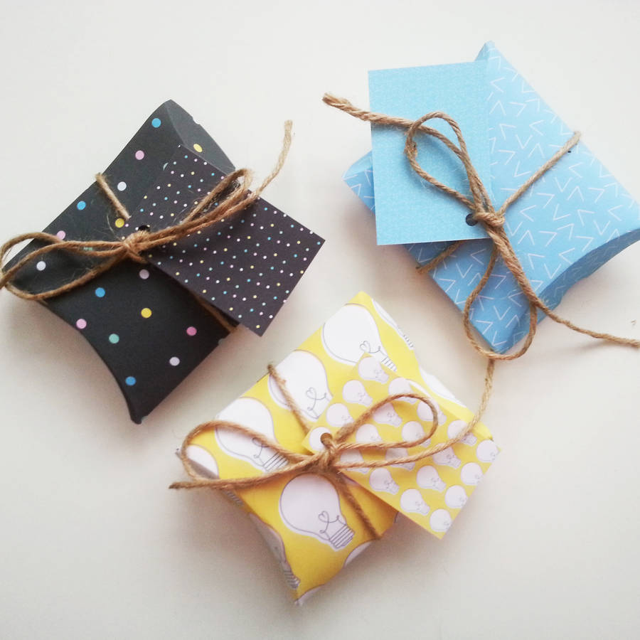 set of six 'shine bright' diy pillow gift boxes by ...