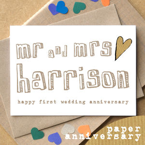 Personalised First 'Paper Anniversary' Card - anniversary cards