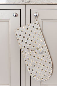 Garden Ochre Grey Double Oven Gloves