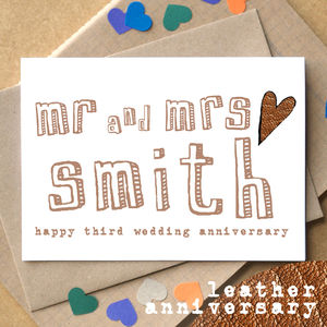 Personalised Third 'Leather Anniversary' Card - anniversary cards