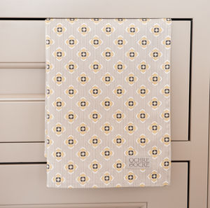 Garden Ochre Grey Tea Towel - kitchen