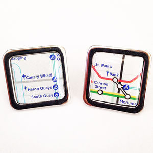 Personalised Square Tube Map Cufflinks