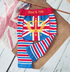 H.R.H Union Jack Baby Leggings - stocking fillers for babies & children