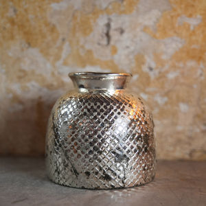 Antique Sparkling Silver Glass Vase