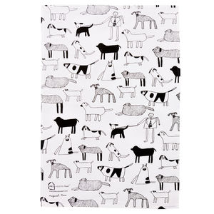 Dogs Silkscreen Printed Tea Towel - tea towels