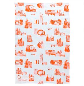 City Sketch Tea Towel Orange - tea towels