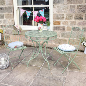 Vintage Green Three Piece Bistro Table And Chairs Set - garden furniture