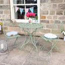 Vintage Green Three Piece Bistro Table And Chairs Set