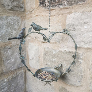 Hanging Heart Bird Dish - gifts for her