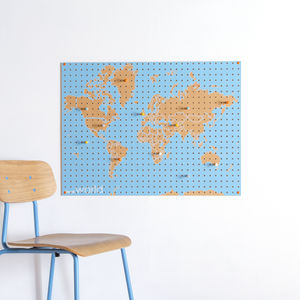 World Map Pegboard - kitchen