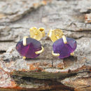 Gold Amethyst February Birthstone Claw Stud Earrings