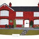 Large Personalised Textile House Portrait