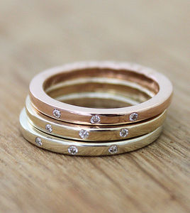 Personalised 9ct Gold Triple Diamond Stacker Rings