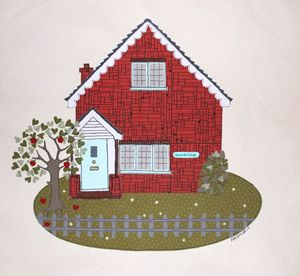 Large Personalised Sewn Artwork Of Your Home - mixed media & collage
