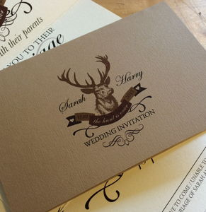 Stag 'The Hunt Is Over' Wedding Stationery - order of service & programs