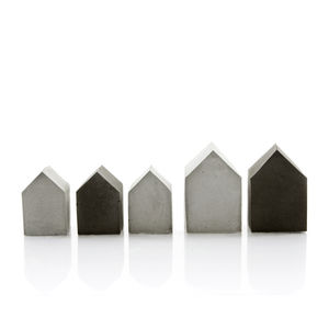 Set Of Five Mini Concrete Houses