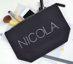 Personalised Diamante Make Up Bag - gifts for teenage girls